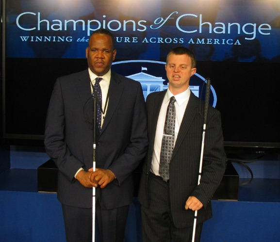 Hoby Wedler at the White House Champions of Change event with Kareem Dale, Special Assistant to President Obama on Disability Policy