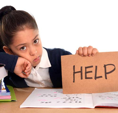 girl student holding help sign