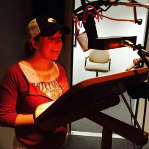 Lisa recording an audiobook
