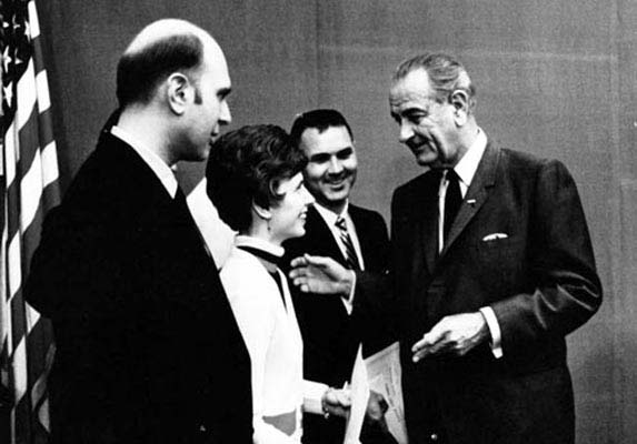 president johnson meets awards winners