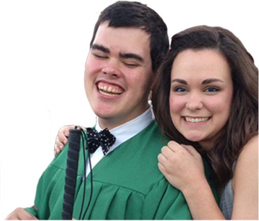 ecstatic graduate with sister or girlfriend